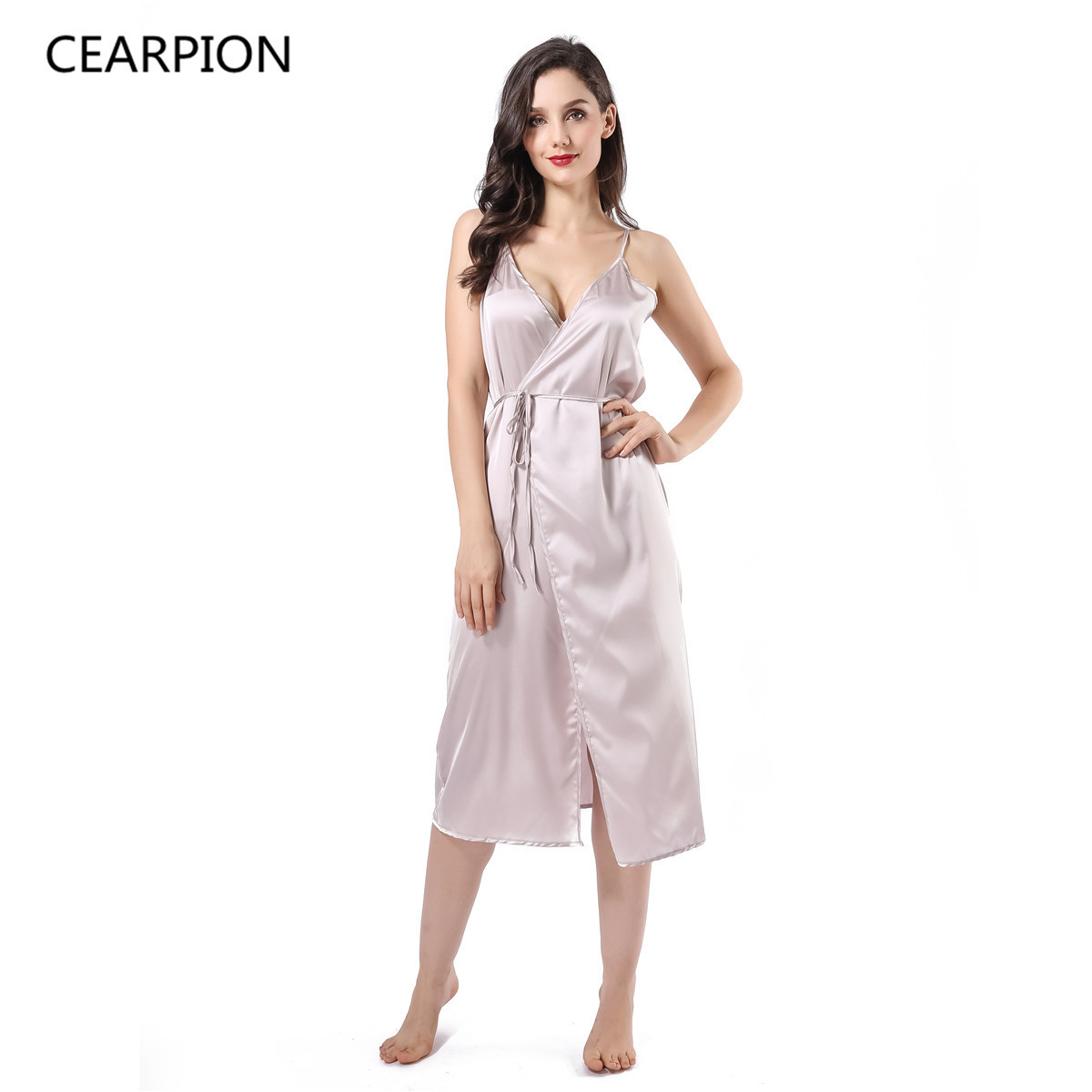 CEARPION Long Sexy Nightgown Rayon Nightwear Lady Nightdress Suspender Skirt Sleepwear Spaghetti Strap Home Dress Gown Nightie
