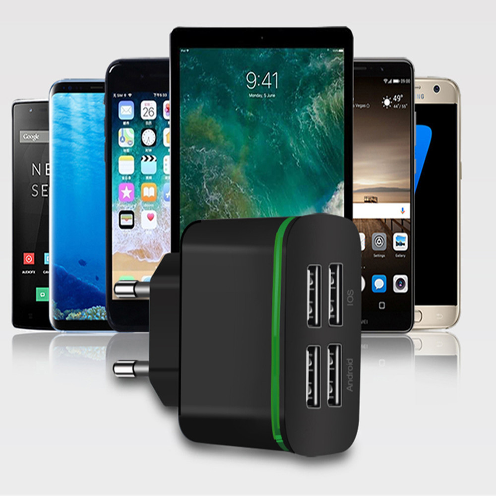 Image 3 - USB Charger for iPhone Samsung Android 5V 2A 4 Ports Mobile Phone Universal Fast Charge LED Light Wall Adapter usb wall charger-in Mobile Phone Chargers from Cellphones & Telecommunications