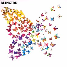 HOT 3D Butterfly Wall Stickers 12PCS Color Decals Home Decor for fridge kitchen room living room