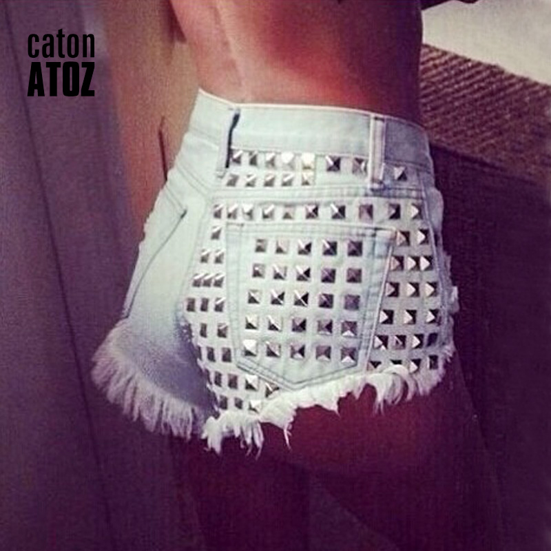 catonATOZ 1805 Women's Fashion Brand Vintage Tassel Rivet Ripped Loose High Waisted Short Jeans Punk Sexy Hot Woman Denim Shorts 1