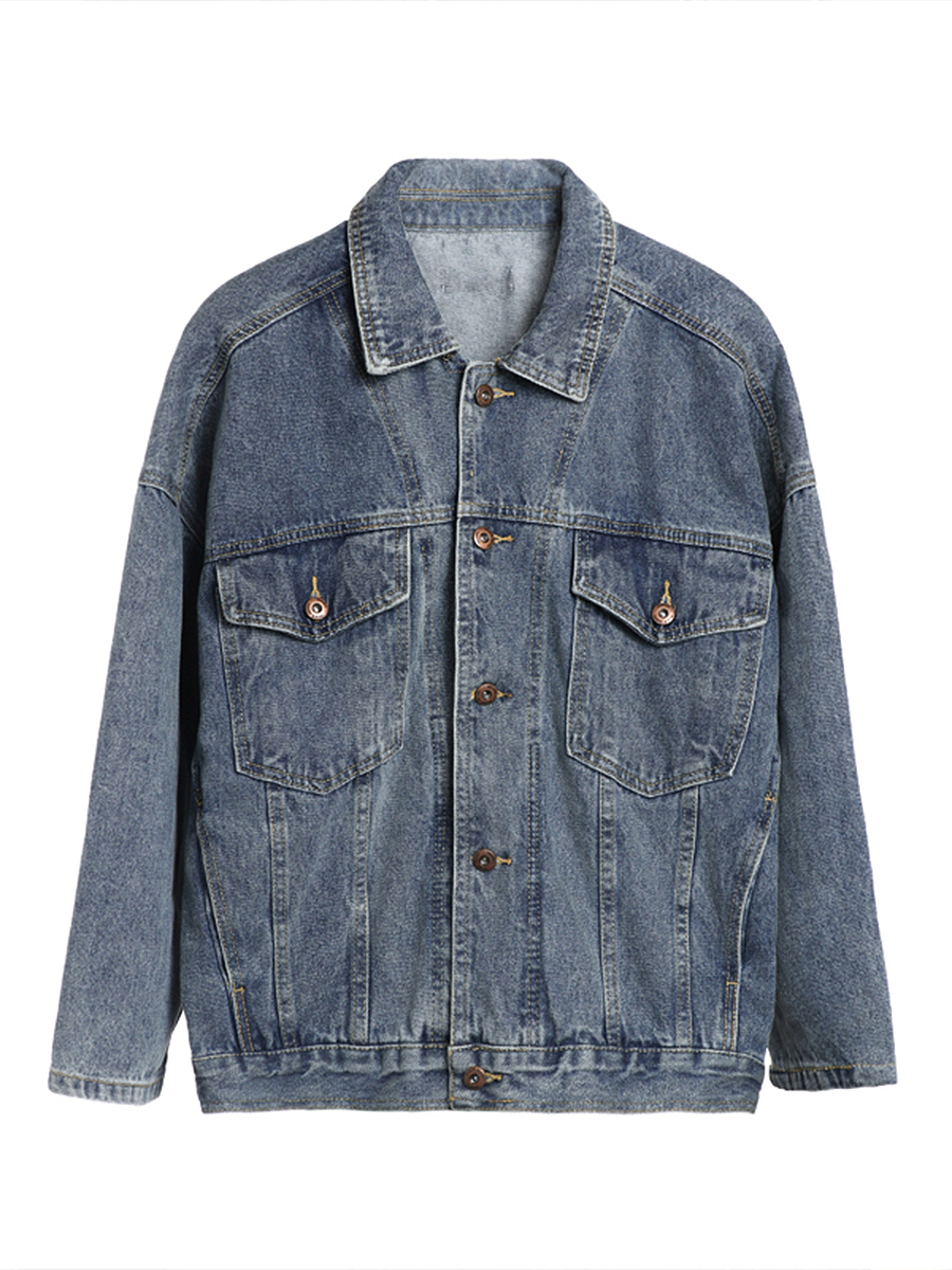 Spring Autumn Women Denim Jacket 2019 Vintage Harajuku BF Loose Female Single Breasted Jeans Coat Solid Slim Chaquetas Mujer in Jackets from Women 39 s Clothing