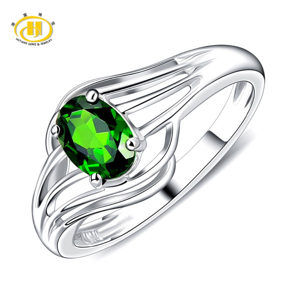 Hutang Fashion Rings 0.84 CTW Natural Chrome Diopside Solid 925 Sterling Silver Rings Fine Jewelry for Womens Wedding Rongs ...