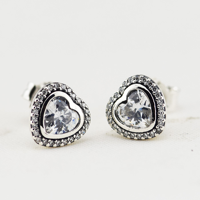 Radient 2016 925-sterling-silver Earrings For Women Geometric Crystal Round Heart Red Pink Cubic Zirconia Rhinestone Stud Earrings Women Stud Earrings