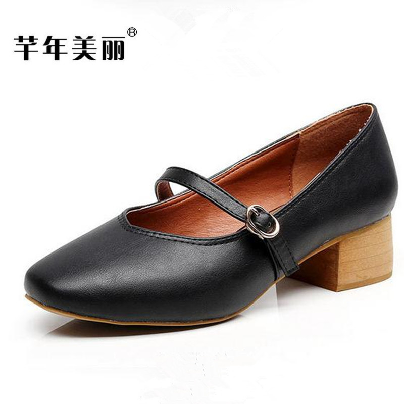 2017 spring new high heels women pumps shallow mouth Crude heel Large size 40 43 Mary Jane  Shoes female obuv Tacones Mujer сказки 1