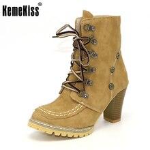 KemeKiss Más El Tamaño 34-43 Zapatos de Las Mujeres Botas de Mujer de Alta Talones Aquare Heel Lace Up de Alta Calidad de La Manera Ocasional calzado