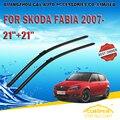 """Escovas Para SKODA FABIA (2007-) 2008 2009 2010 2011 2012 13 2014 Car Windscreen Windshield Wiper Blade 21 """"+ 21"""" carros estilo"""