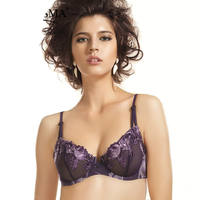 Transparent Bras Women Sexy Ultra Thin Luxury Embroidery Floral Lace Bralette Push Up Brassiere Purple Burgundy