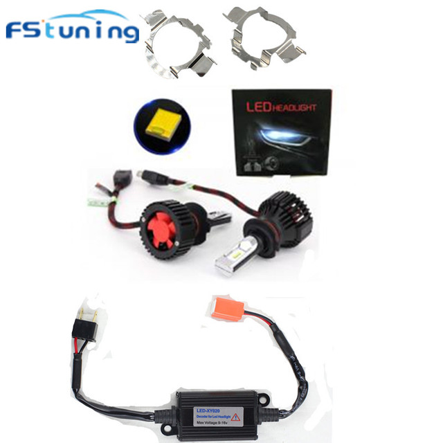 US $38 68 15% OFF FStuning T8 H7 LED Car LED Headlight Bulb with h7 led  canbus Decoder Warning Canceler car headlamp bulb adapter For BMW for  Benz-in
