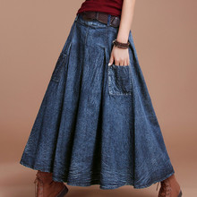 Free Shipping 2017 New Fashion Spring And Autumn Long Maxi Skirt Casual Denim Female Skirts With Pockets A-line Elastic Waist