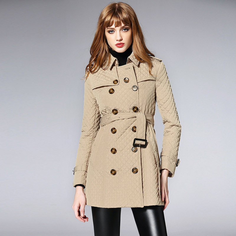 Double Hiver Femmes coat Trench Style Angleterre Boutonnage À G091 Manteau Beige Slim Automne Fit De Ceinture wzxzIrqB