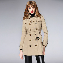 Women's england style double breasted Trench coat Autumn winter slim fit belted coat G091 flounce trim belted coat
