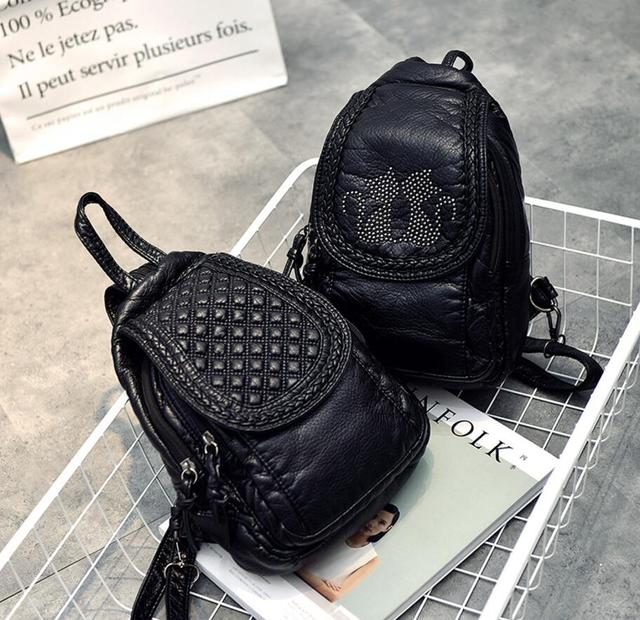 Korean fashion wild cat versatile studded backpack 04803b24beea5