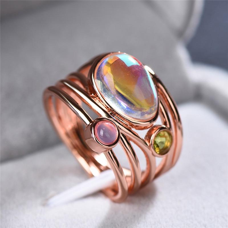 Crystal Female Big Moonstone Ring Fashion Silver Rose Gold ...