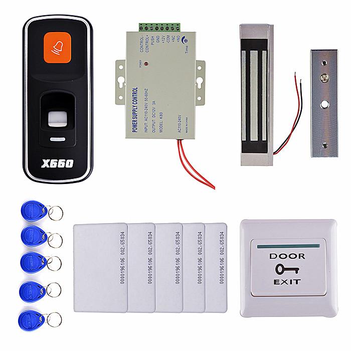 3000 Users Fingerprint 125KHz RFID ID Card Reader Door Access Control System Kit +300 LBS Magnetic Lock + 10 Key Card 3000 users fingerprint access control with tcp ip software door access system with rfid card reader