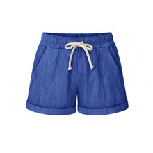 Trend Girls Cotton Shorts Pink Blue Linen Blend Russia Lady Cool Short Pants Elastic Waist Big Size Drawstring Pockets