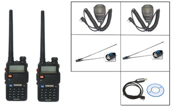 2PCS BaoFeng UV-5R Walkie Talkie +2 Baofeng mics+2 NA 771-F natennas+1 Programming Cable Handy Hunting Radio Receiver