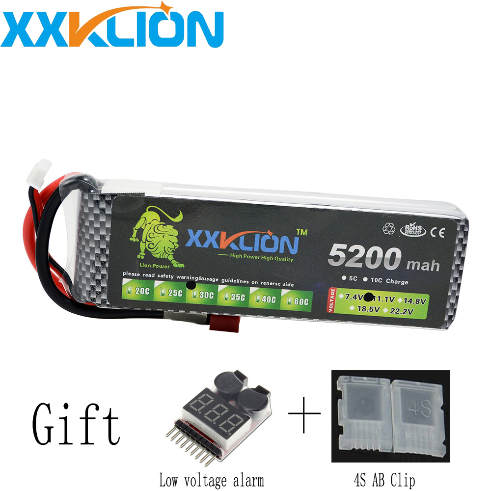 XXKLION Lipo Battery 4S 14.8v 5200mah 30c 35C T XT60 Plug RC Helicopter RC Car RC Boat Quadcopter Remote Control toys Battery wild scorpion rc 18 5v 5500mah 35c li polymer lipo battery helicopter free shipping