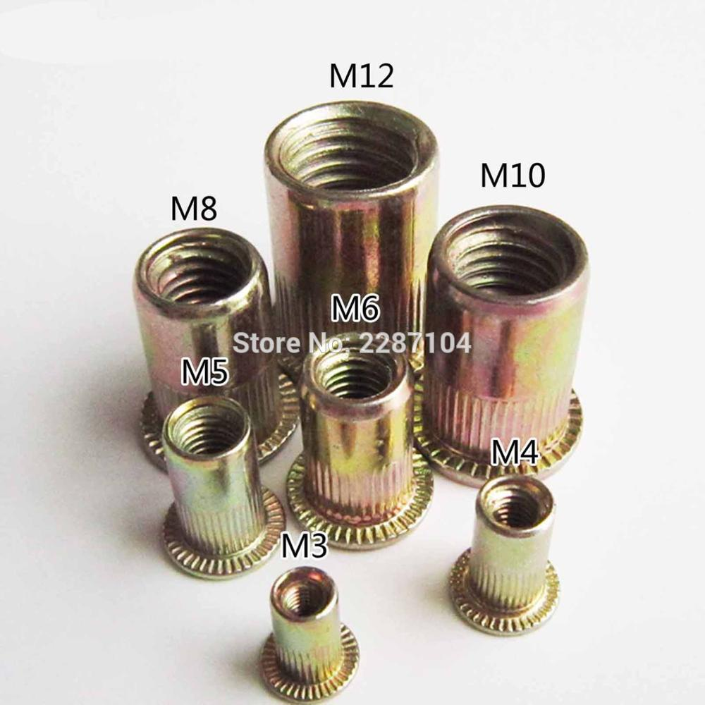Rivet Nut M3-M12 Carbon Steel Flat Threaded Rivet Nut Flange Rivnut Nutsert Fastener M12
