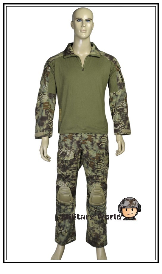 Emerson V3 Airsoft Tactical Military Uniform Suits Combat Gen3 Long Sleeve T-shirt &Pants with Detachable Knee Protector