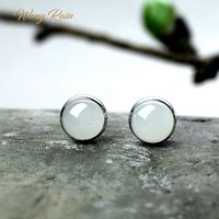 Wong Rain Vintage 100% 925 Sterling Silver Round Natural Hetian Jade Gemstone Ear Studs Earrings Fine Jewelry Gifts Wholesale