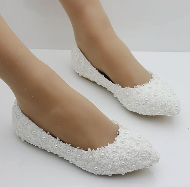 White Lace flats shoes women sexy point toes handmade plus large size full  lave pearls brides shoes bridesmaid flats party shoes f90c98e74b33