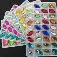 1すべてのサイズ色トップ光沢のある5 × 10〜15 × 31ガラスクリスタルナベットソーオンストーンマーキーズ形状フラットバック2穴縫製ジュエリービーズ