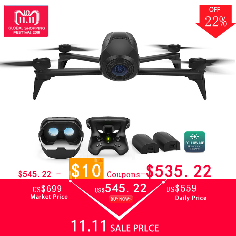 Drone 4 k Perroquet Bebop 2 Puissance FPV Drones avec Caméra HD Quadrupter 4 k jusqu'à 25 Minutes de temps de vol, lunettes FPV Quadcopter