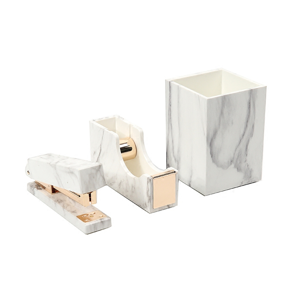 Kit de papelería blanca de mármol para suministros de oficina, juego de papelería de tienda, soporte para bolígrafos de mármol de regalo, soporte para dispensador de cinta, grapadora
