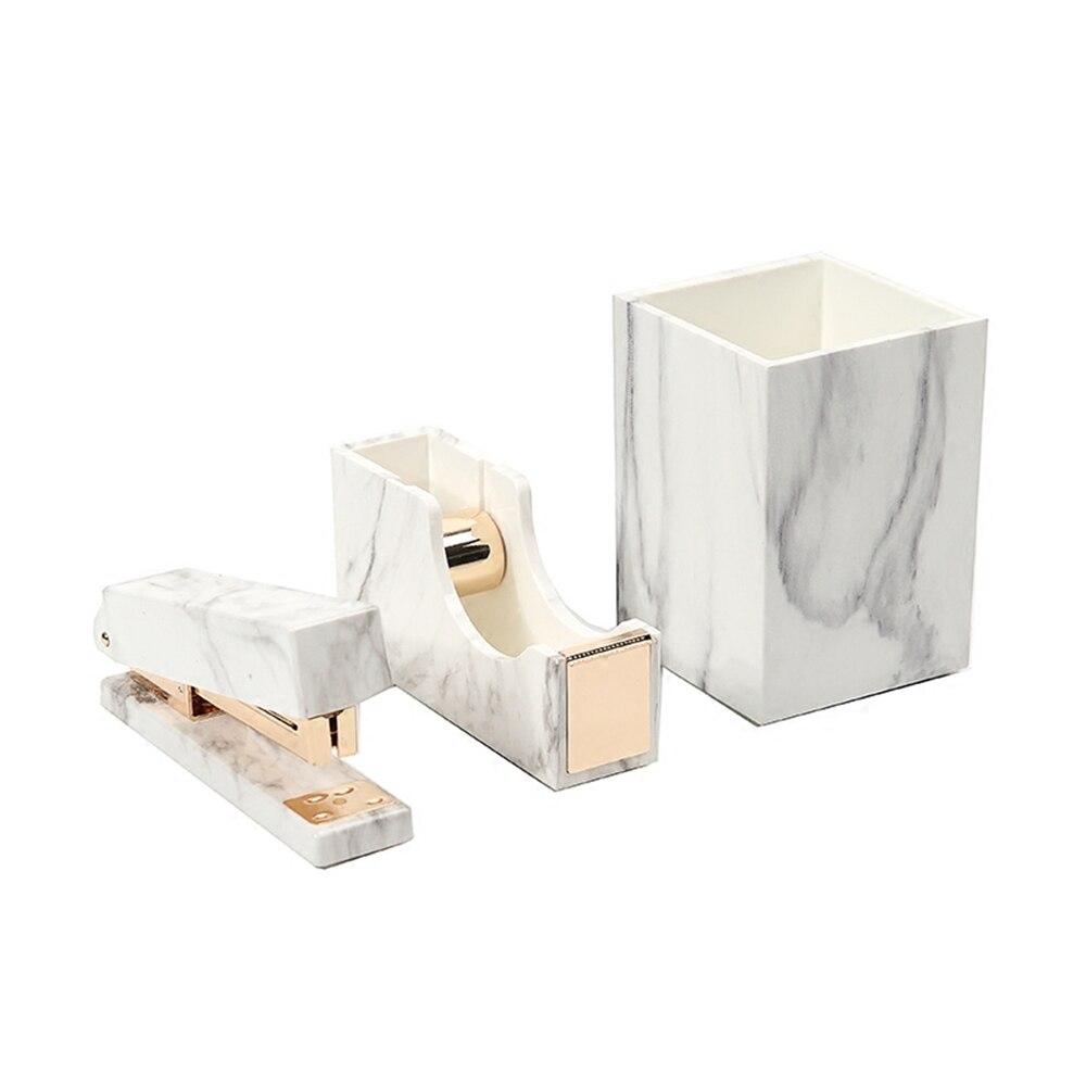 Marbre Blanc Kit De Papeterie pour Fournitures De Bureau Shopkins Ensemble De Papeterie Cadeau Porte-Stylo En Marbre, Distributeur de Ruban, Agrafeuse