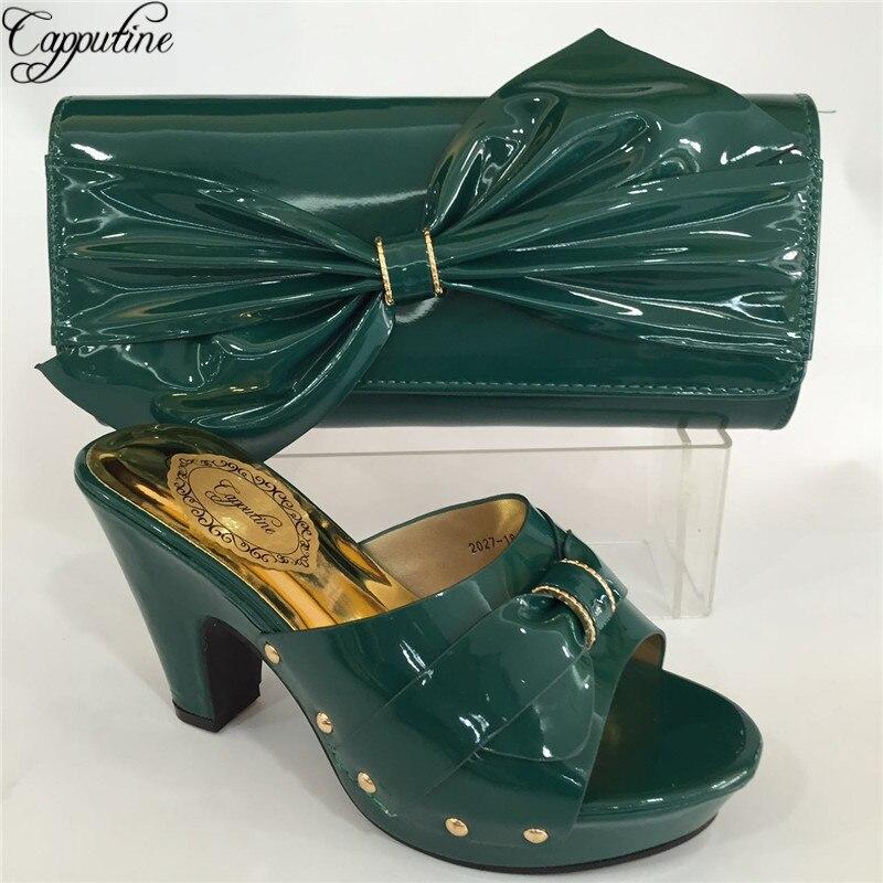 En De Mariage Pour rouge Nouvelle Robe À Pu Dames royal Blue Chaussures Italiennes vert pu Nigeria blanc Arrivée Noir Et Ensemble Bl695c Sacs La Capputine jaune Cuir Sac Correspondre Ciel RA34L5j