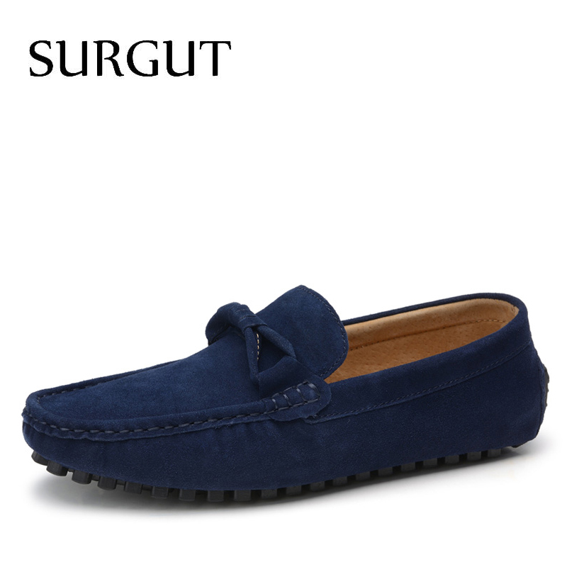 SURGUT Brand New four Season Men Fashion Shoes Slip On Flat Shoes Men Casual Shoes Comfortable Genuine Leather Men Loafers surgut brand new colors cow split leather men flat shoes brand moccasins men loafers driving shoes fashion casual shoes hot sell