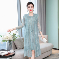 Summer clothes for women silk dress plus size large two piece set dresses cardigan China embroidery vintage elegant noble robe
