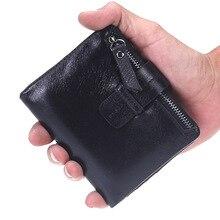 Nieuw merk echt leer mannen portefeuilles mode kleine rundleer mannelijke portemonnee met broekzak rits mannen kaart portemonnee