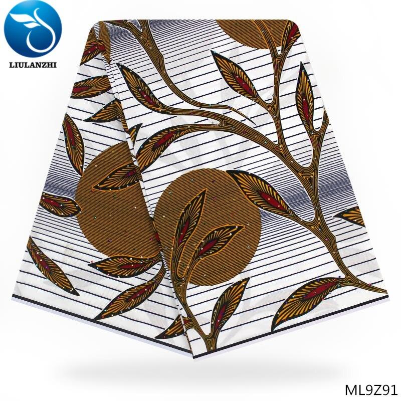 LIULANZHI tissus de cire africaine dernier style coton ankara tissus de cire avec strass pour robe 6 yards/lot ML9Z77-ML9Z94