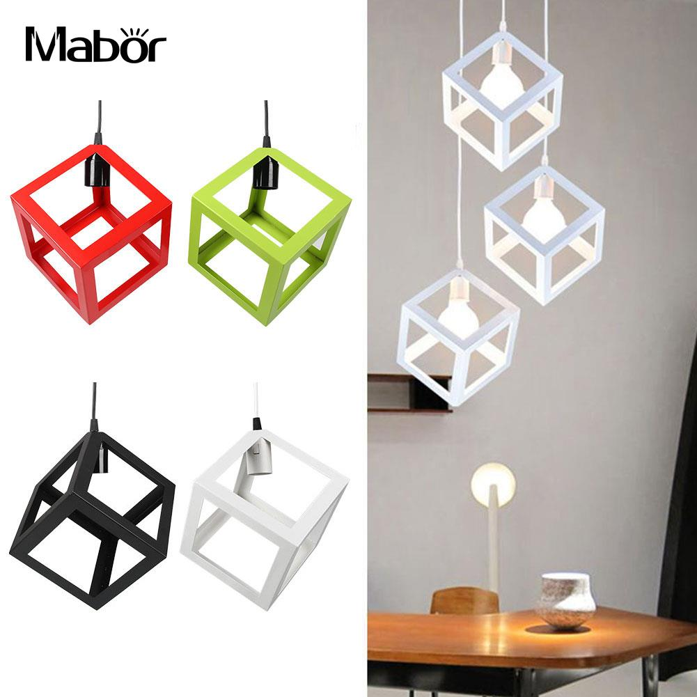 Mabor E27 Bulb Cage Guard Ceiling Pendant Square Shape Cover Shade Light W/Cable