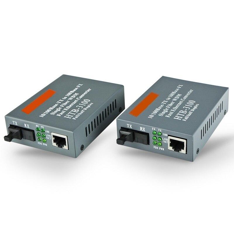 2 stücke 1 para Htb-3100ab 10/100 Mt Lwl-medienkonverter Fiber Transceiver Single Fiber 25 km SC Singlemode