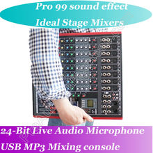 лучшая цена MICWL 8 Channel Microphone Mixing Console 99 Audio effect 24-Bit USB Studio Processor Ideal Mixer for Stage