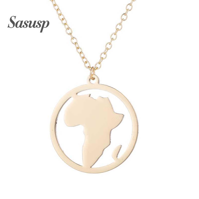 Sasusp ヴィンテージアフリカマップネックレス子供のための子供の新年クリスマスギフトステンレス鋼地図チョーカーペンダントネックレス