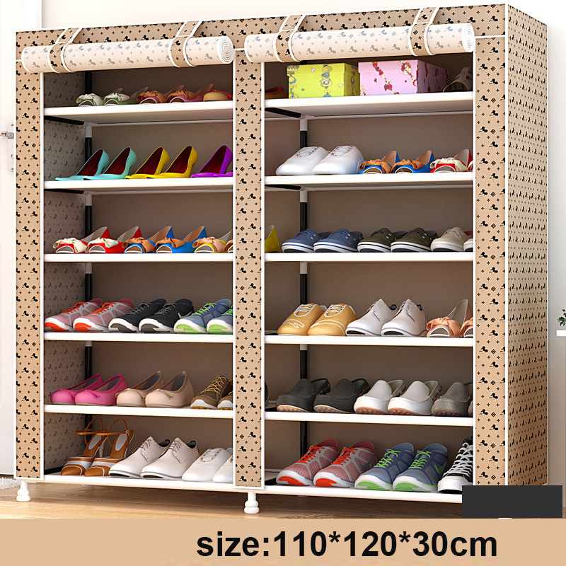 Modern Fashion Double Rows Multi-layers Non-woven Cloth Shoes Cabinet Shoes Rack Storage Shoes Organizer Shelves Home Furniture