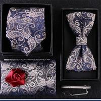 5 Paper Set Red Necktie Male Formal Dress Business Marry Bow Kerchief Tie Clip Handkerchiefs Bowtie Mens Clothing Accessories