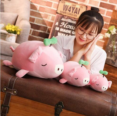 WYZHY New Year Gift Mascot Down Cotton Small Grass Pig Doll Plush Toy Home Decoration Send Friends Children Gifts 40CM