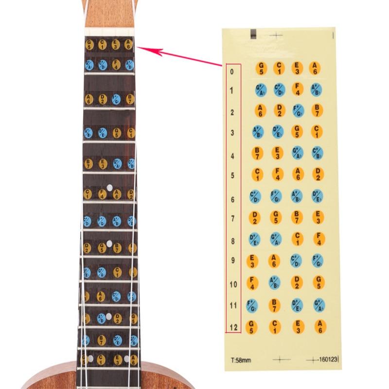Ukulele Fretboard Note Map Sticker Fingerboard Frets Decals for Beginner Practice up001 zebra professional 24 inch sapele black concert ukulele with rosewood fingerboard for beginner 4 stringed ukulele instrument