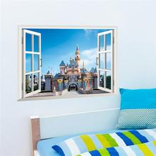 Disney Fantastic Princess Castle 3D Fake Window Wall Stickers For Girls Room Home Decoration Accessories  PVC Mural Decals