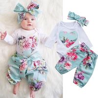 10 98 Per Vieeolove Baby Girls Sets Spring Long Sleeve Romper Floral Pants Bow Headband