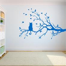 Tree Wall Decal Sticker Bedroom tree of life roots cat on the tree home decor yoga studiodecor A7-014 the tree of life
