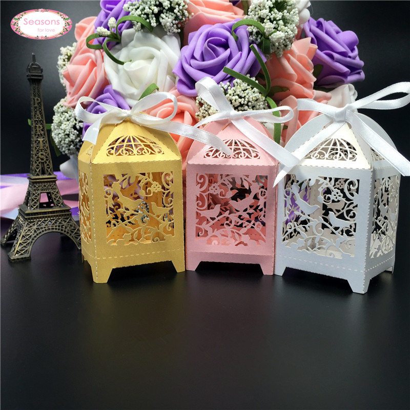 50ps Laser Cut Candy Box Wedding Decoration Chocolate Packaging