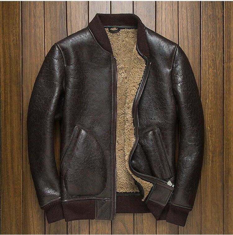 Mode de luxe nouvel homme véritable peau de mouton naturelle en cuir laine peau de mouton manteau double face airforce pilote vestes marron 4xl
