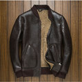 Luxury fashion new man genuine natural real sheepskin leather woolen shearling coat double face airforce pilot jackets brown 4xl