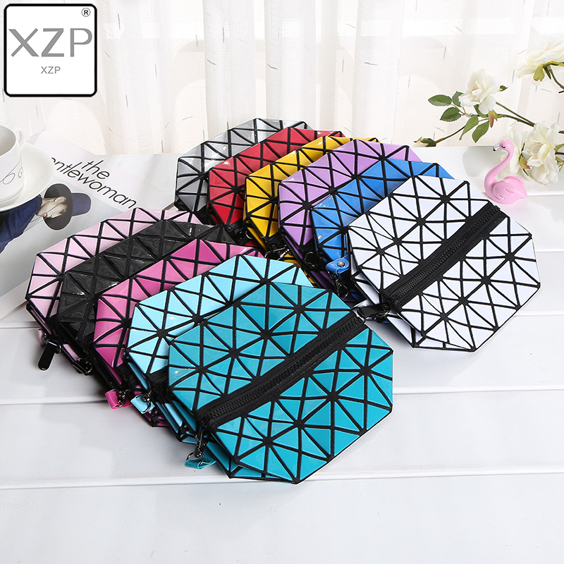 XZP New Women Geometric Zipper Cosmetic Bag Large Storage Package Diamond Makeup Bag Laser Flash Leather Ladies Cosmetic Cases