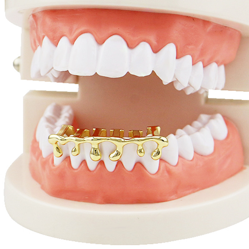 US $3 99 20% OFF|Hip hop Gold Teeth Grills Women Men Drip Grills Dental  Custom Cosplay Teeth Caps Mouth Tooth Rapper Jewelry Party XHYT1044-in Body